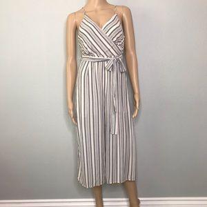Striped open back jumpsuit